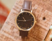 Wood Watch, Valentine's Gift For Her, Walnut Wood Gold Watch, Wood Watch Leather Band- HELM-WG