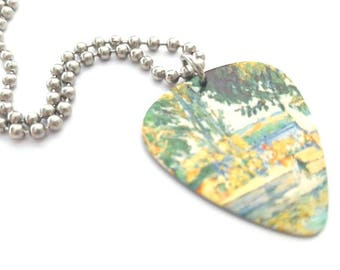 Paul Cezanne Guitar Pick Necklace with Stainless Steel Ball Chain - fine art accessory