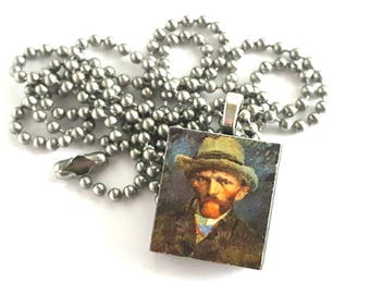 Vincent van Gogh Scrabble Tile Necklace with Stainless Steel Ball Chain