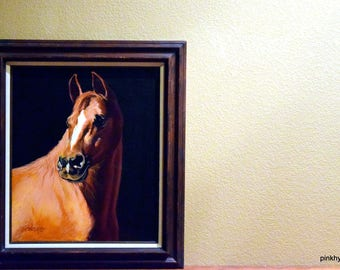 1 Dollar Shipping! Show Stopping Original Vintage Horse Painting, Neutral Colors