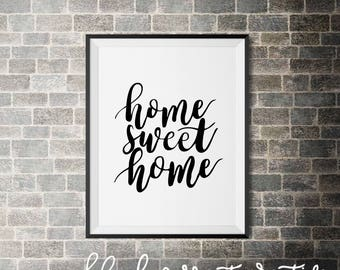 Home Sweet Home Print, Printable Wall Art, Instant Download Print, Digital Download Home Decor, Wall Print Home Sweet Home, Handletter Home