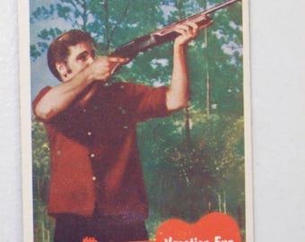 Antique  1956 Elvis Presley Trading Card Vacation Fun, No. 16, Elvis Shooting Rifle, Bubbles Inc.