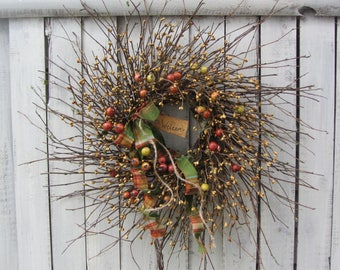 Fall Wreath - Autumn Wreath - Fall Door Wreath - Thanksgiving Wreath - Fall Twig Wreath - Berry Wreath - Primitive Country Wreath - Wreath