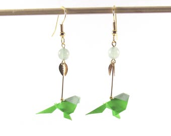 Origami budgies earrings *MIMI* Origami bird | Paperbird earrings | Made in France | Animal | Origami budgies | Origami earrings | Origami