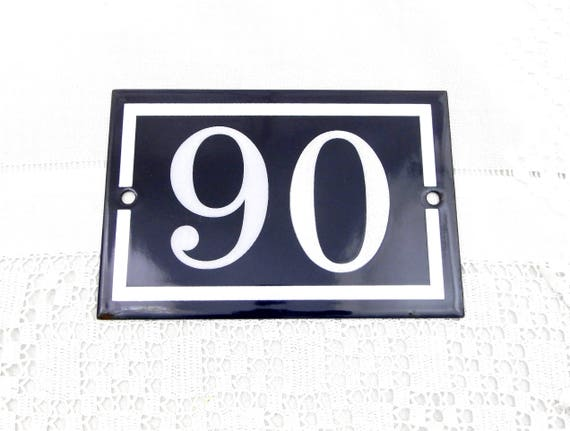 Blue and White Enamel Metal Number Plaque 90 / 06, Vintage French House Street Enameled Sign