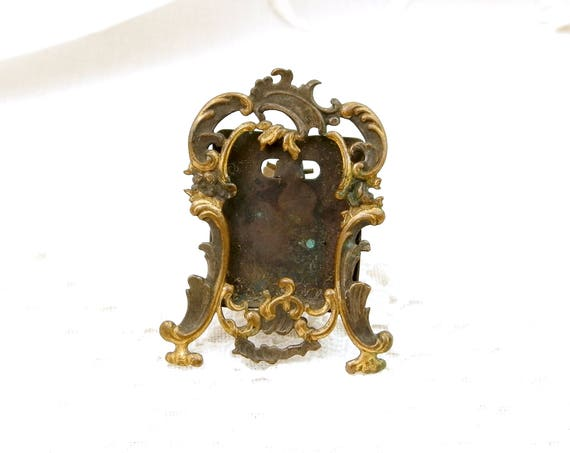 Very Small Antique Silver and Gold Plated Portrait Frame, Tiny French Victorian Metal Easel Standing Embossed Picture Frame
