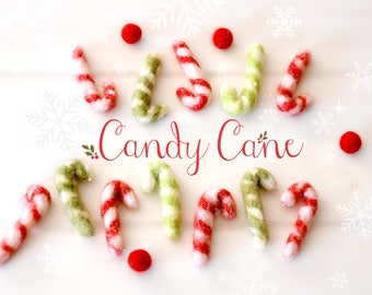 Felted Candy Cane - Wool Felt Candy Cane - DIY Garland Candy Cane - Christmas Decoration - Holiday Decor - 4.5CM Candy Cane - Set of 10