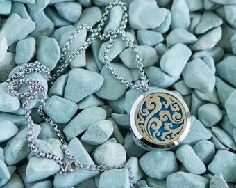 Stainless Steel Oil Diffuser Necklace - Ocean Waves - Seaside Collection