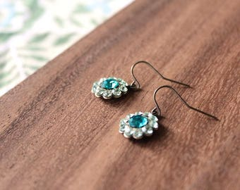 small vintage glass earrings - bloom - aqua, teal
