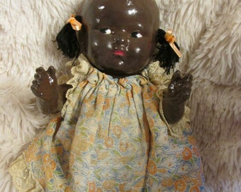 Sweet Antique Composition 9 inch Black Doll