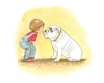 Little boy and his bulldog art print - English Bulldog art print for children