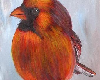 SALE Bird Art Painting Cardinal SFA Wildlife Original hand painted bird acrylic painting by Australian Artist Janet M Graham