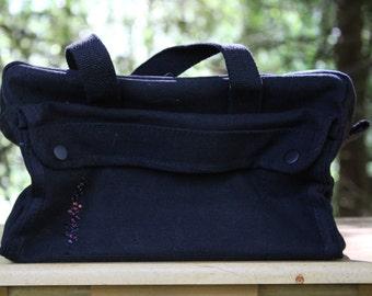 Military Hand Bag, Vintage Hand Bag, Retro Hand Bag, Black Tote Purse, Repurposed Purse