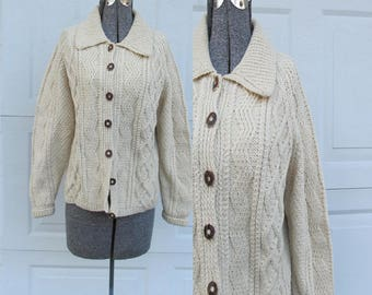 Vintage wool fisherman's sweater, cable knit cardigan, chunky knit cardigan, wooden buttons, M