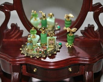 Dollhouse Miniatures Artisan Perfume Vanity Toiletries Bottle Set, Dollhouse Miniature Bottles, Green and Gold Set 1/12th Scale