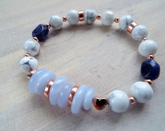 Rose Gold and Blue Lace Agate  Stacking Stretch Bracelet, White Marble/Blue  Gemstone Summer Bracelet,Blue  Beaded Bracelet, byLaurieB