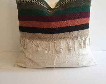 SALE !!!African mudcloth with vintage Mexican southwest  rug pillow cover