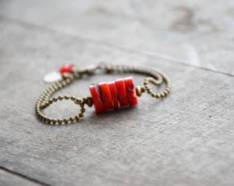 Red coral bracelet double chain
