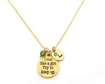 I Run Like A Girl Necklace -Swarovski Birthstone - Custom Initial - Personalized Gold Necklace / Gift for Her
