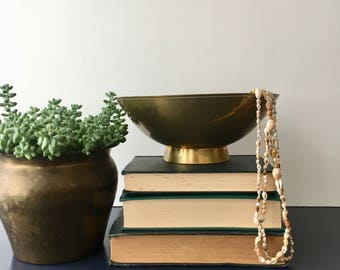 vintage brass footed bowl patina
