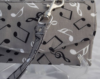 Gray musical note necessary clutch wallet, NCW