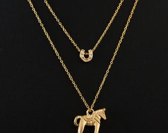 Layered Double Necklace, Gold Horse and Horseshoe Charms, Swedish Horse, Dala Horse, Delicate Fine Chain, 16K Gold Plated