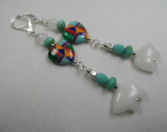 """Southwest Native American Sterling Silver Earrings with Inlayed Hearts and White Zuni Fetish Bears - 3.5"""" length"""