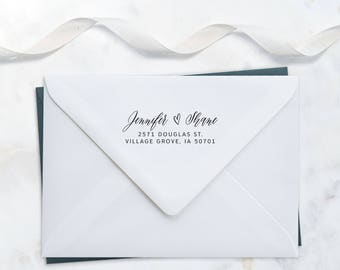 Calligraphy Address Stamp – Romantic Invitation Stamp – RSVP Envelope Stamp – Wood Handle Address Stamp