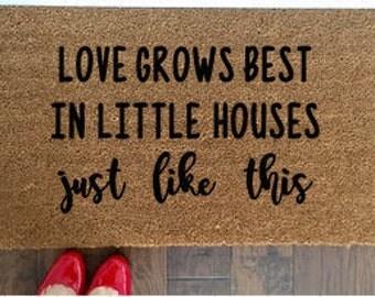 love grows best doormat customized coir doormat with antlers handpainted doormat doormat