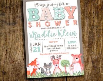 Woodland Baby Shower Invitation | Woodland Animal Baby Shower Invitation | Baby Shower Invitation  | Digital Invitation