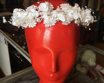 Vintage Bridal Wreath White Satin Floral Wedding Headpiece Pearl Vine Tiara