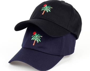 Vaporwave Palm Tree Sunset Vibes - Baseball Dad Cap