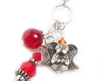 Car Ornament, Angel Car Charm, Rearview Car Charm, Red Car Charm, Car Dangle, Rear View Mirror Charm, Car Accessories, Guardian Car Charm