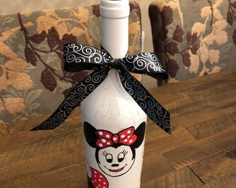 Minnie Lovers - Hand Painted Minnie Mouse Recycled Bottle w Matching Cork