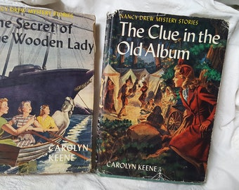 Pair Vintage Nancy Drew Mystery The Clue in the Old Album and  The Secret of the Wooden Lady 1953-58 Edition