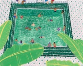 "Art print of original painting ""Green Riad"" by Helo Birdie -whimsical - swimming pool - green - morocco - riad - marrakech"