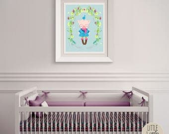 Primrose Pig – a printable pig wall art poster with a beautiful flowered wreath.  Perfect for a hipster, woodland nursery.