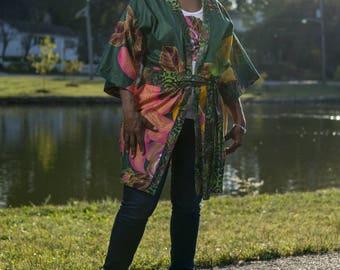 Hariri-Na-Nta Collection - V A Z I African Print Kimono made from African Dutch Wax