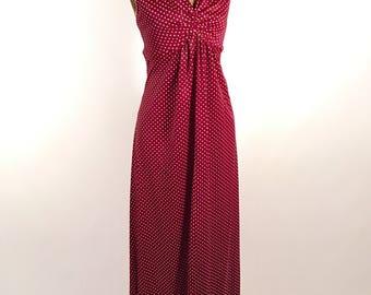 1970s Halter Maxi Dress Vintage Burgundy Polka Dot Halter Maxi by Shawn Jrs. Summer Dress Wedding Prom Garden Party Vintage Women
