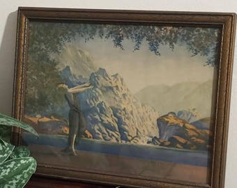 Vintage Parrish-esq Litho of woman in field original frame