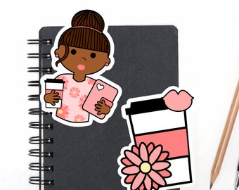 Planner Die Cuts Printable, Planner Girl Die Cuts, Coffee Die Cuts, African American Girl, Scrapbook Die Cuts - Planner Accessories