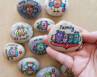 Painted owl inspirational rocks, wedding favors, Affirmation Stones, Owl art, owl gifts, painted owl, Custom/Personalized Message Stones
