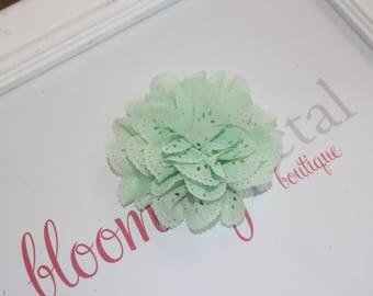 Mint Eyelet Flower Hair Clips