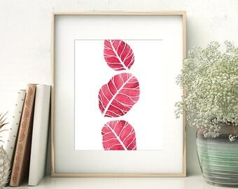 Watercolor Leaf Printable // Botanical Print Digital // Watercolor Fall Leaf Art Prints Download // Autumn Wall Art Printable