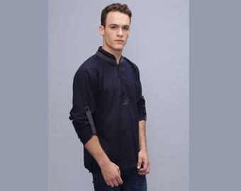 Mens shirt - Half Button shirt - loose fit men's shirt