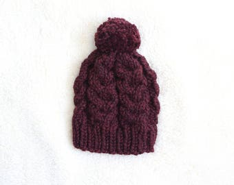 Cable knit hat, chunky knit cabled hat, the Elena, in BURGUNDY