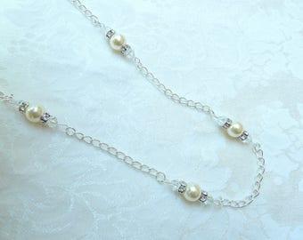 Swarovski Pearl Chain Necklace- Swarovski Pearl Link Necklace-Swarovski Pearl Necklace with Chain-Swarovski Pearl Silver Chain Necklace- 641