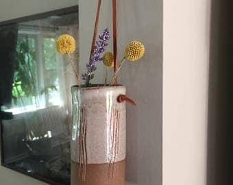 White and Brown Ceramic Hanging Planter