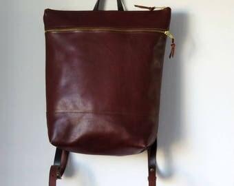 Leather Backpack, Brown Leather Backpack purse, Travel Bag, Leather Bag, Work Bag, Bike bag