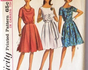 Dress Pattern- Vintage 1960s Women's Pleated Skirt Dress Sewing Pattern Size 14 Bust 34 Simplicity 5865